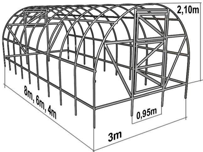 Чертеж арочной теплицы из профильной трубы
