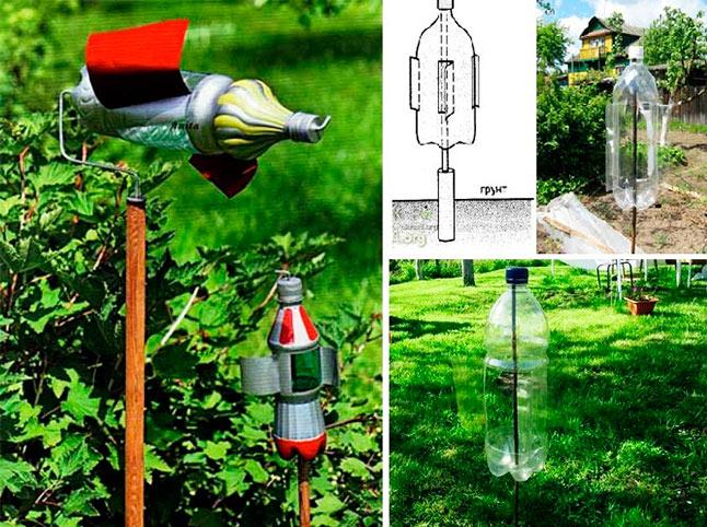 Шумовой отпугиватель кротов из пластиковых бутылок