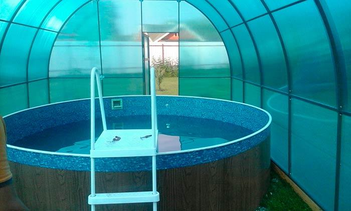 Бассейн в теплице на даче