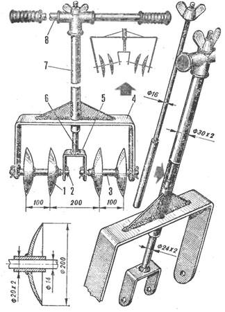 Схема сборки дискового роторного культиватора