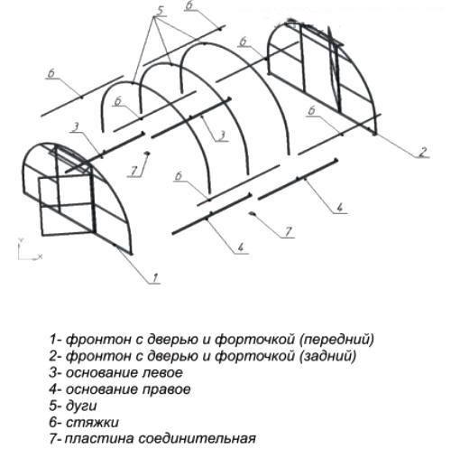 Схема сборки теплицы Уралочка усиленная